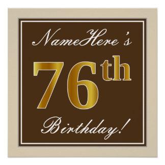 Elegant, Brown, Faux Gold 76th Birthday + Name Poster