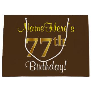 Elegant, Brown, Faux Gold 77th Birthday + Name Large Gift Bag