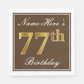 Elegant Brown, Faux Gold 77th Birthday + Name Paper Napkin