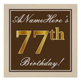 Elegant, Brown, Faux Gold 77th Birthday + Name Poster