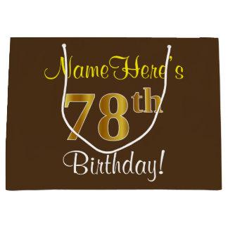Elegant, Brown, Faux Gold 78th Birthday + Name Large Gift Bag