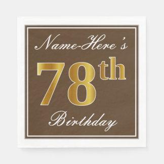 Elegant Brown, Faux Gold 78th Birthday + Name Paper Napkins
