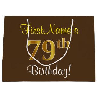 Elegant, Brown, Faux Gold 79th Birthday + Name Large Gift Bag