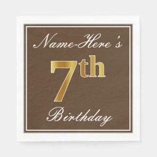 Elegant Brown, Faux Gold 7th Birthday; Custom Name Paper Napkins