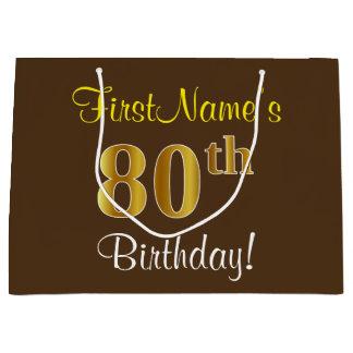 Elegant, Brown, Faux Gold 80th Birthday + Name Large Gift Bag