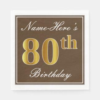 Elegant Brown, Faux Gold 80th Birthday + Name Paper Napkin