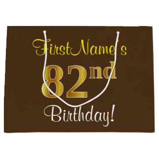 Elegant, Brown, Faux Gold 82nd Birthday + Name Large Gift Bag
