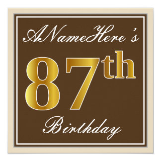 Elegant, Brown, Faux Gold 87th Birthday + Name Card