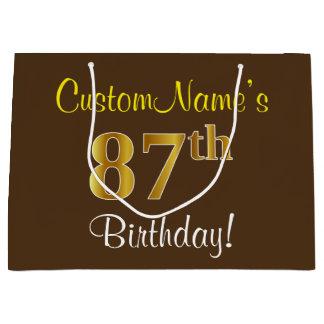 Elegant, Brown, Faux Gold 87th Birthday + Name Large Gift Bag