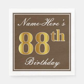 Elegant Brown, Faux Gold 88th Birthday + Name Disposable Napkins