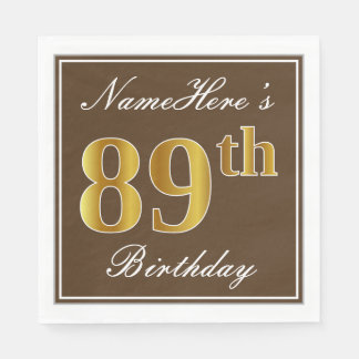 Elegant Brown, Faux Gold 89th Birthday + Name Paper Napkins