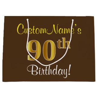 Elegant, Brown, Faux Gold 90th Birthday + Name Large Gift Bag
