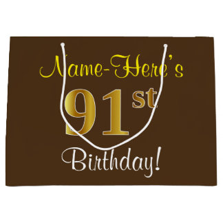 Elegant, Brown, Faux Gold 91st Birthday + Name Large Gift Bag