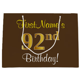 Elegant, Brown, Faux Gold 92nd Birthday + Name Large Gift Bag