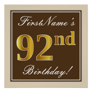 Elegant, Brown, Faux Gold 92nd Birthday + Name Poster