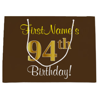 Elegant, Brown, Faux Gold 94th Birthday + Name Large Gift Bag