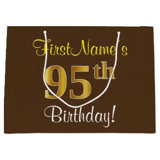 Elegant, Brown, Faux Gold 95th Birthday + Name Large Gift Bag