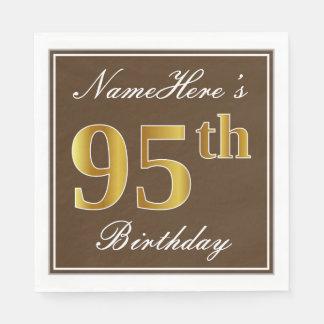 Elegant Brown, Faux Gold 95th Birthday + Name Paper Napkin