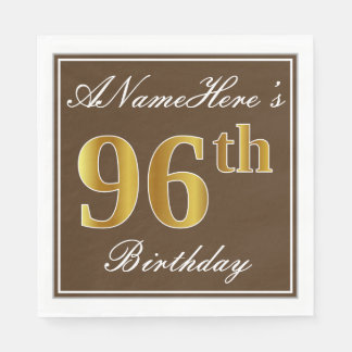 Elegant Brown, Faux Gold 96th Birthday + Name Paper Napkin