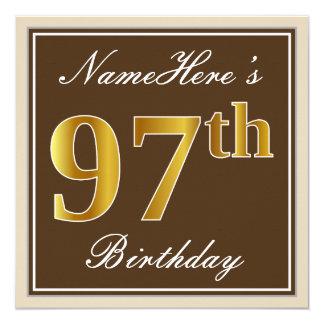 Elegant, Brown, Faux Gold 97th Birthday + Name Card