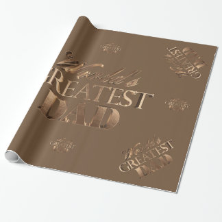 Elegant Brown Gold Typography World's Greatest Dad Wrapping Paper