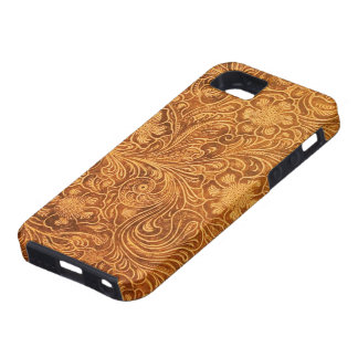 Elegant Brown Leather Look Floral Embossed Design Case For The iPhone 5