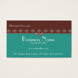 Elegant Brown & Teal Swirls Business Cards