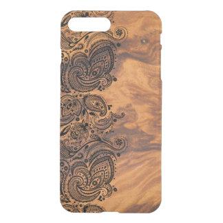 Elegant Brown Wood Texture & Black Lace iPhone 8 Plus/7 Plus Case