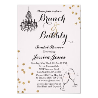 Elegant Brunch & Bubbly Bridal Shower Invitation