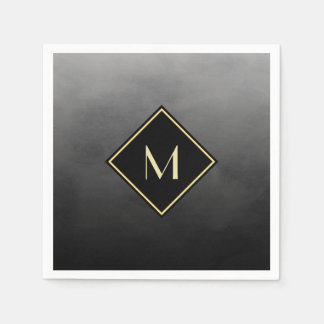 Elegant Brushed Black With Simple Gold Monogram Paper Napkins