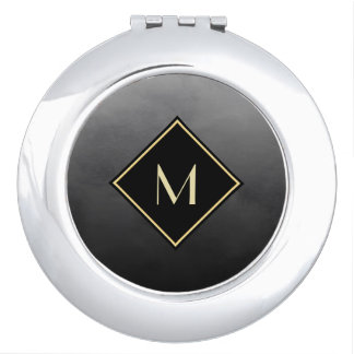 Elegant Brushed Black With Simple Gold Monogram Travel Mirrors