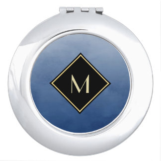 Elegant Brushed Blue With Simple Gold Monogram Makeup Mirror