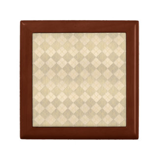 Elegant Brushed Gold Metal Look Argyle Pattern Gift Box