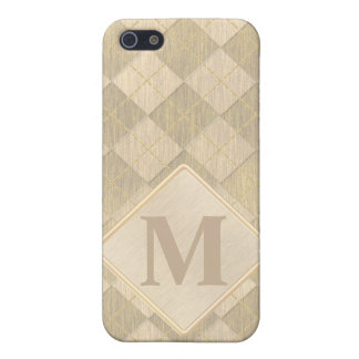 Elegant Brushed Gold Metal Look Argyle Pattern iPhone 5/5S Cover