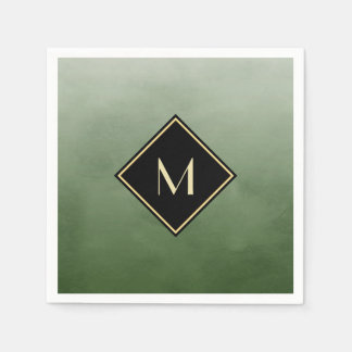 Elegant Brushed Green With Simple Gold Monogram Paper Napkin