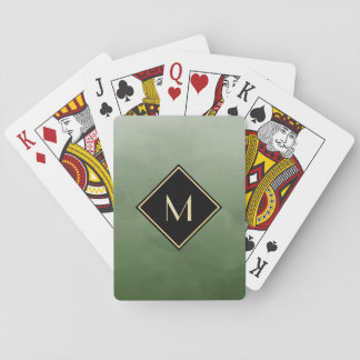 Elegant Brushed Green With Simple Gold Monogram Poker Deck