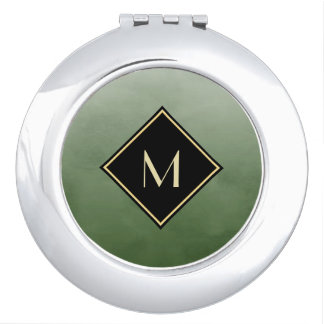 Elegant Brushed Green With Simple Gold Monogram Vanity Mirrors