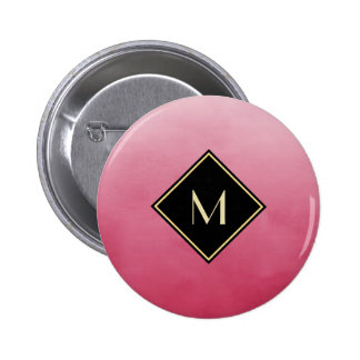 Elegant Brushed Pink With Simple Gold Monogram 2 Inch Round Button