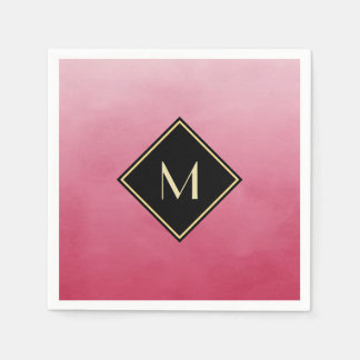 Elegant Brushed Pink With Simple Gold Monogram Disposable Napkin