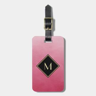 Elegant Brushed Pink With Simple Gold Monogram Bag Tag