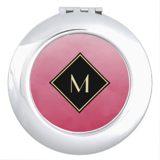 Elegant Brushed Pink With Simple Gold Monogram Mirror For Makeup