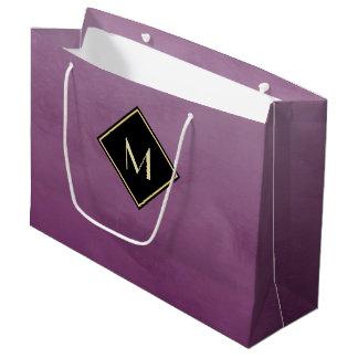 Elegant Brushed Purple With Simple Gold Monogram Large Gift Bag