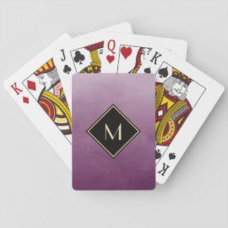 Elegant Brushed Purple With Simple Gold Monogram Poker Deck