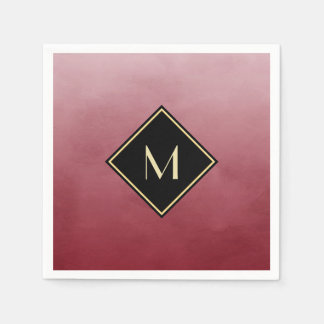 Elegant Brushed Red With Simple Gold Monogram Paper Napkin