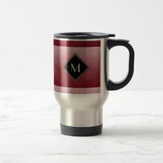 Elegant Brushed Red With Simple Gold Monogram Travel Mug