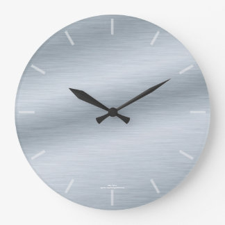 Elegant Brushed Silver Look Clock