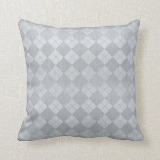 Elegant Brushed Silver Metal Look Argyle Pattern Throw Pillow