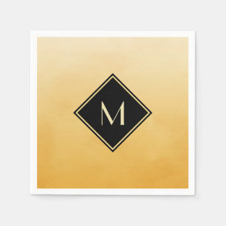 Elegant Brushed Yellow With Simple Gold Monogram Disposable Napkin
