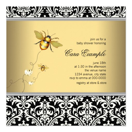 Elegant Bumble Bee Baby Shower Personalized Announcements