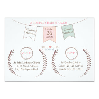 Elegant Bunting - Couple's Baby Shower Card